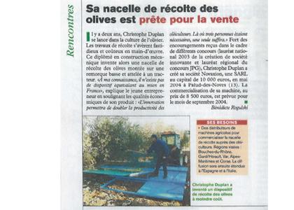 Magazine Defis - La nacelle de recolte des olives Novaxion